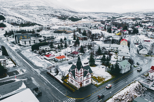 North Iceland「Scenic aerial view of Husavik town in winter」:スマホ壁紙(5)