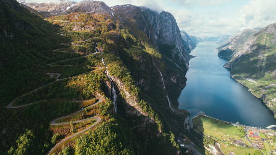 地球「Lysefjorden と曲がりくねった道の風光明媚な空撮」:スマホ壁紙(6)