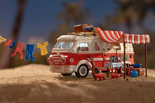 Camping Chair「Vintage motor home at dawn scenery on sandy beach」:スマホ壁紙(7)