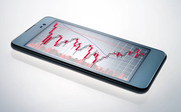 smart phone with stock chart:スマホ壁紙(壁紙.com)
