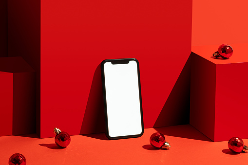 Touch Screen「Smart phone mockup, template on red background」:スマホ壁紙(16)