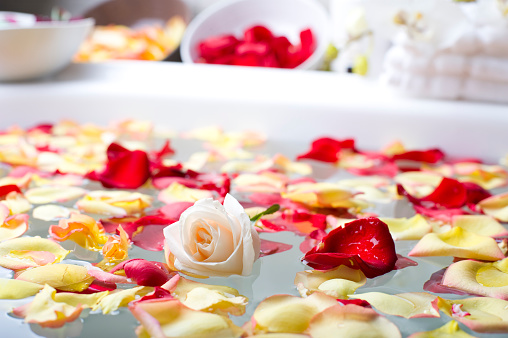 Beauty Spa「Rose with flower petals in a spa」:スマホ壁紙(6)