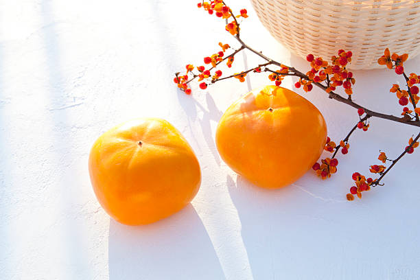 Persimmon Fruits and Staff Tree Branch:スマホ壁紙(壁紙.com)