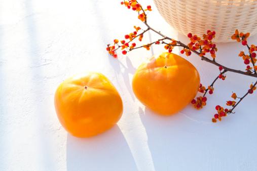 柿「Persimmon Fruits and Staff Tree Branch」:スマホ壁紙(8)