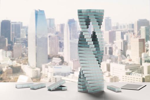 Skyscraper「Modern building made of blocks shaped like office buildings」:スマホ壁紙(14)