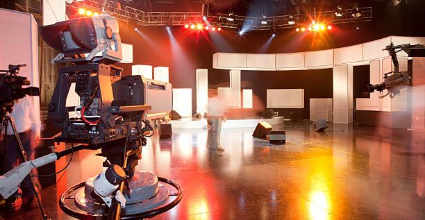 Empty television studio with camera:スマホ壁紙(壁紙.com)