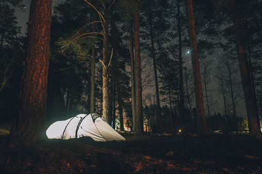 Tent「Sweden, Sodermanland, tent in forest under starry sky at night」:スマホ壁紙(7)