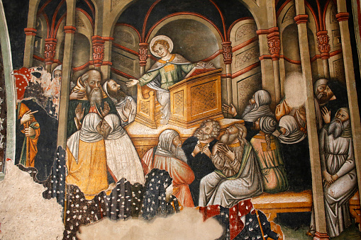 Preacher「Fresco in the Basilica di Santa Caterina d'Alessandria: Jesus preaching at the Nazareth synagogue」:スマホ壁紙(5)