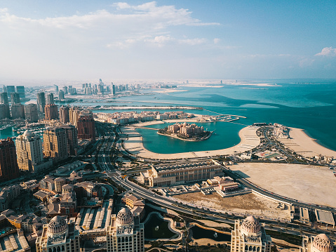 Bay of Water「The Pearl of Doha in Qatar aerial view」:スマホ壁紙(4)