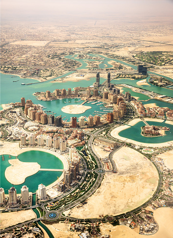 Persian Gulf Countries「The Pearl of Doha in Qatar aerial view」:スマホ壁紙(16)