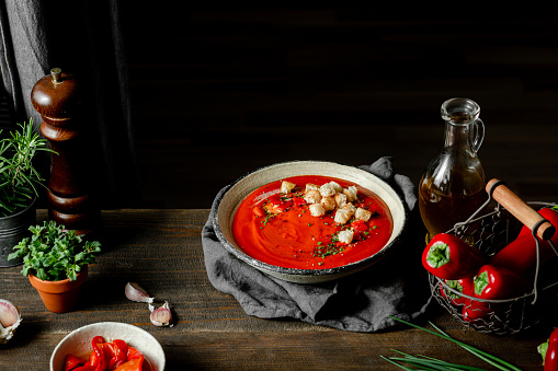Chili Sauce「Red pepper soup served in a bowl」:スマホ壁紙(5)