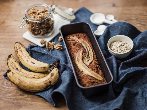 Loaf of Bread「Healthy Food vegan banana bread and ingredients」:スマホ壁紙(8)