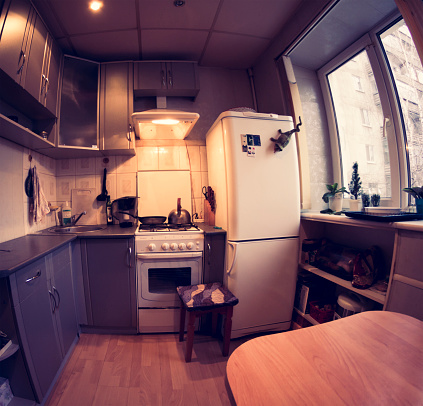 Fish-Eye Lens「Fish-eye lens view of domestic kitchen」:スマホ壁紙(5)