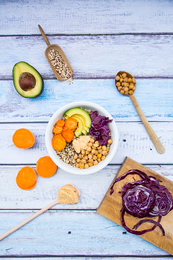 Hummus - Food「Bowl of quinoa, avocado, roasted chick-peas, sweet potato, red cabbage and hummus」:スマホ壁紙(17)