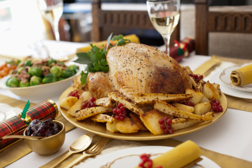 Meal「Turkey, cranberries and Christmas cracker on table」:スマホ壁紙(4)