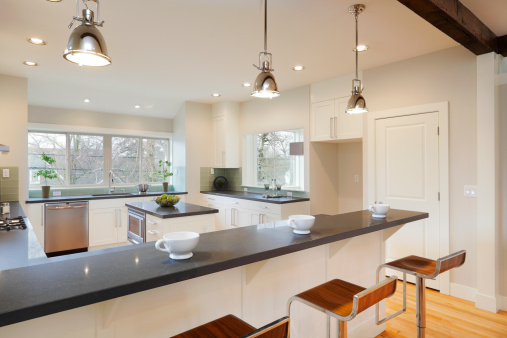 Kitchen Counter「Interior view of a bright luxury kitchen」:スマホ壁紙(2)