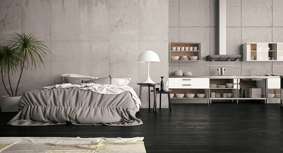 Turkey - Middle East「Loft Open Bedroom with Kitchen」:スマホ壁紙(10)