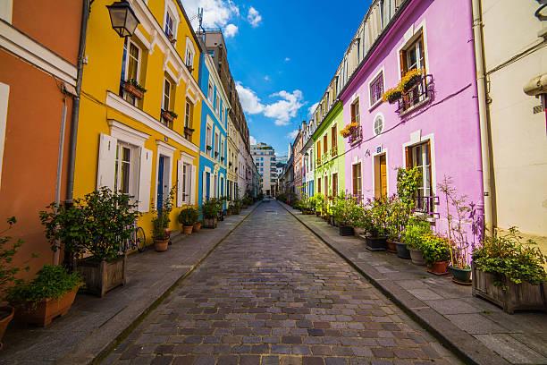 Residential street and houses, Paris, France:スマホ壁紙(壁紙.com)