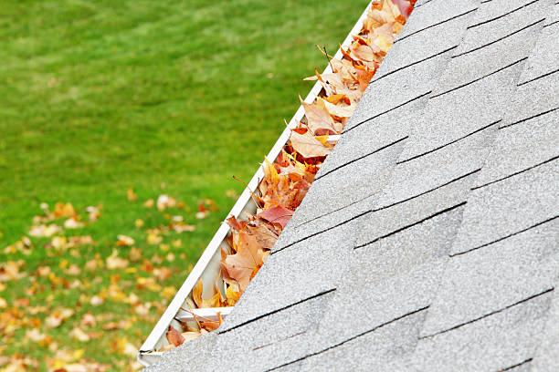 Residential Home Roof Gutter Filled With Autumn Leaves:スマホ壁紙(壁紙.com)