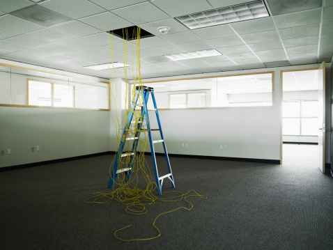 Restoring「Ethernet cables hanging from ceiling of office」:スマホ壁紙(11)