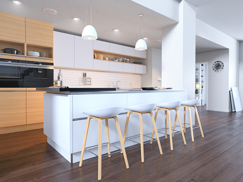 Kitchen Counter「Bright Modern White Kitchen」:スマホ壁紙(18)