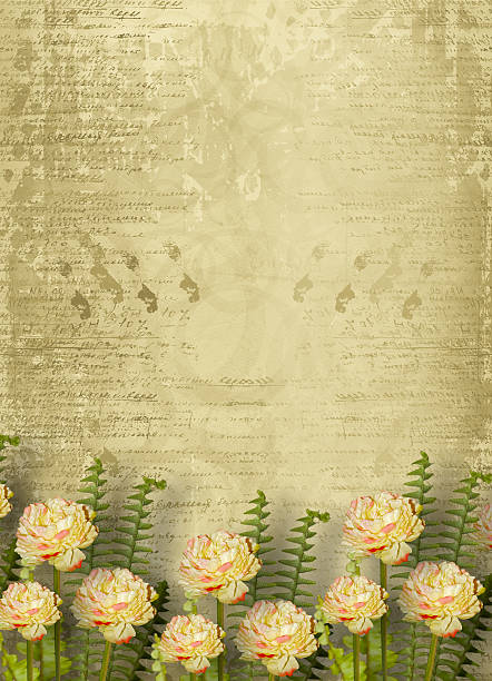 Paper frame on the grunge background with flowers:スマホ壁紙(壁紙.com)