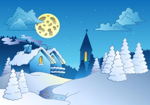 Snowdrift「Small village in winter - color illustration.」:スマホ壁紙(4)