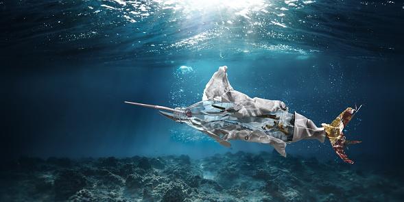 Environmental Cleanup「Trash Underwater In Ocean In Shape Of Marlin Swordfish」:スマホ壁紙(5)