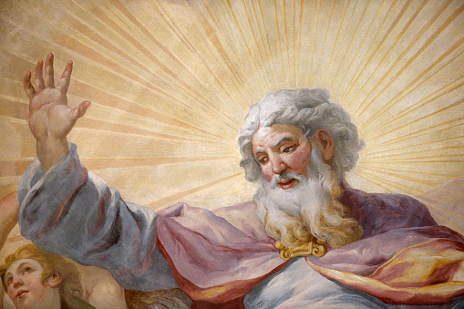Fresco「Karlskirche (St. Charles's Church). Dome fresco by Johann Michael Rottmayr. God.」:スマホ壁紙(8)