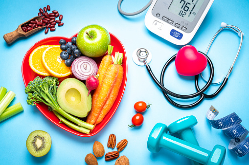 Blue Background「Healthy eating, exercising, weight and blood pressure control」:スマホ壁紙(12)