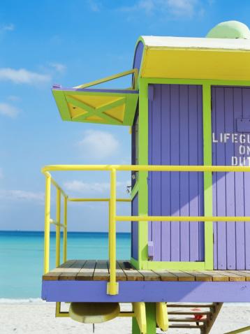 Miami Beach「監視員のタワーのビーチ、クローズアップ」:スマホ壁紙(10)