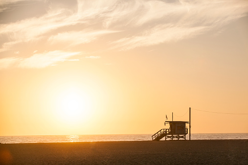 Santa Monica「Lifeguard Tower in Sunset」:スマホ壁紙(14)