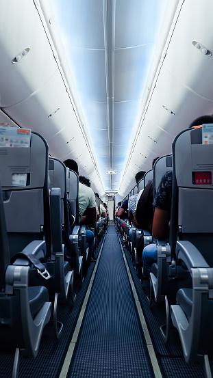 Passenger Cabin「Airplane corridor with seats」:スマホ壁紙(5)
