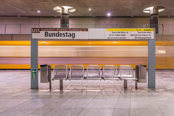 Germany, Berlin, modern architecture of subway station Bundestag with moving underground train:スマホ壁紙(壁紙.com)