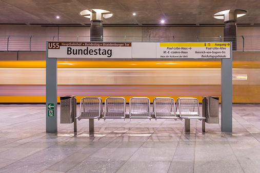 Passenger Train「Germany, Berlin, modern architecture of subway station Bundestag with moving underground train」:スマホ壁紙(18)