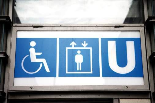 Accessibility Sign「Germany, Berlin, Subway sign, low angle view」:スマホ壁紙(18)