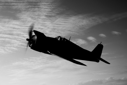 Propeller「A Grumman F6F Hellcat fighter plane in flight over Chino, California.」:スマホ壁紙(19)