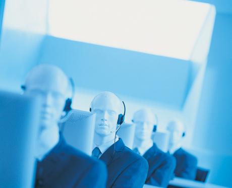シリーズ画像「Line of Telesales Dummies Sitting Behind Computer Monitors」:スマホ壁紙(6)