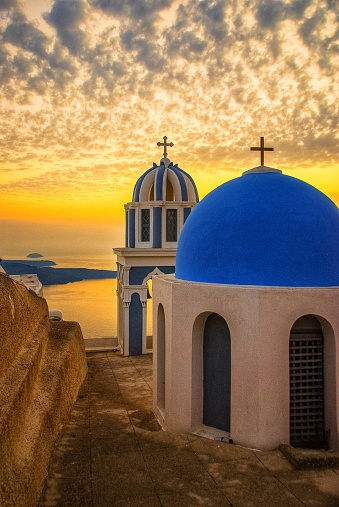 Orthodox Church「Santorini Chapels at Sunset」:スマホ壁紙(17)