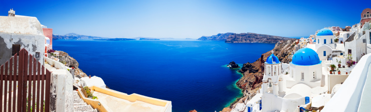 Volcanic Landscape「Santorini caldera with famous churches (XXXL panorama)」:スマホ壁紙(3)