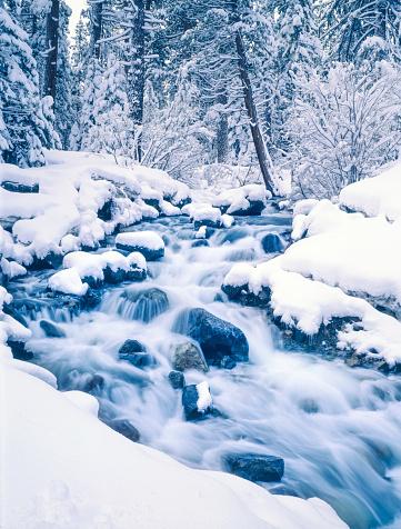 氷晶「冬は、エメラルド色の湾州立公園レイクタホ、カリフォルニア州)」:スマホ壁紙(17)