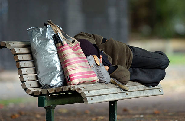 Homeless person sleeping on a park bench at Victor:ニュース(壁紙.com)