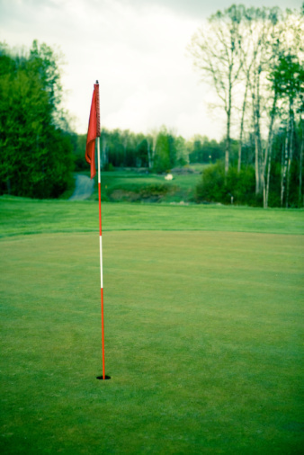 Golf Links「View of flagstick in cup on golf course」:スマホ壁紙(13)