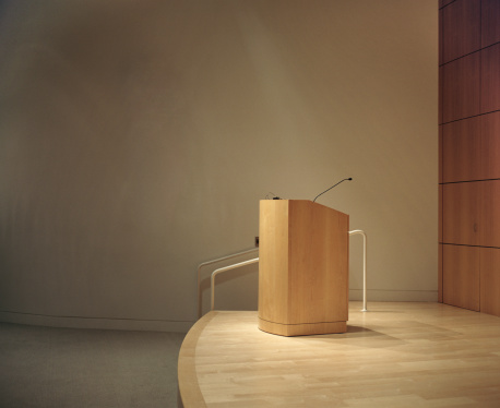 Lectern「Podium and microphone  in room」:スマホ壁紙(5)