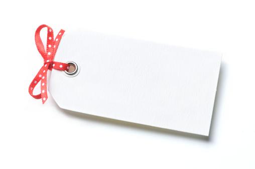 プレゼント「ギフトのタグ白背景のポルカドットのリボン」:スマホ壁紙(14)