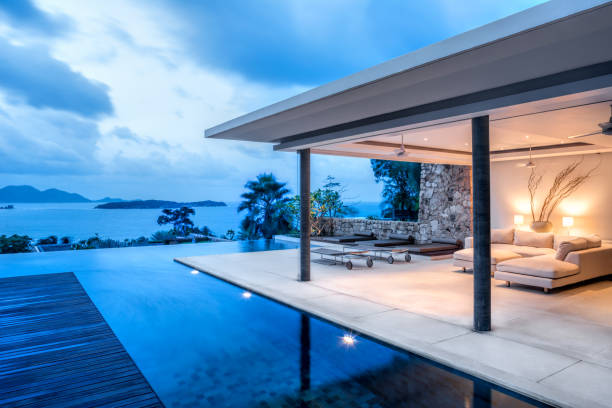 Luxury Holiday Island Villa Home Exterior With Infinity Pool:スマホ壁紙(壁紙.com)