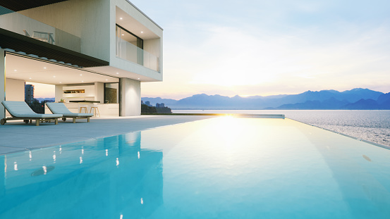 Mediterranean Sea「Luxury Holiday Villa With Infinity Pool At Sunset」:スマホ壁紙(5)