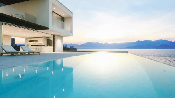 Luxury Holiday Villa With Infinity Pool At Sunset:スマホ壁紙(壁紙.com)