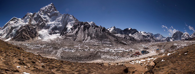 Khumbu Glacier「Mt Everest panorama from Kala Patthar with Gorak Shep below, Everest Base Camp Trek, Nepal」:スマホ壁紙(18)
