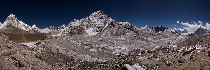 Khumbu Glacier「Mt Everest panorama from south of Gorak Shep, Everest Base Camp Trek, Nepal」:スマホ壁紙(13)